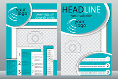 Schablonendesign von Broschüren mit Platz für Ihr Foto Eine Probe Stockbild