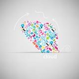 Schablonendesign Wolke mit Sozialem Netz Lizenzfreie Stockbilder