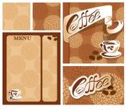 Schablonendesigne des Menüs und der Visitenkarte für Kaffeehaus Lizenzfreie Stockbilder