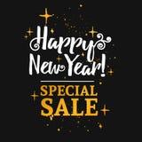 Schablonendesignfahne für Weihnachtsgeschäft Sonderangebot des guten Rutsch ins Neue Jahr an einem Rabatt Stockbilder
