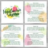 Schablonendesignmenüs, Broschüren, Flieger Vegetariermenü Logo, Ikonenvegetarier, gesundes Menü mit dem Dekor eines Grüns Lizenzfreie Stockbilder