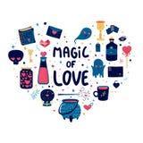 Schablonendesignmuster mit netten magischen Elementen Herzformdruck für glücklichen Valentinsgruß ` s Tag Plakat mit dem Zauberer Lizenzfreie Stockbilder