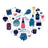 Schablonendesignmuster mit netten magischen Elementen Herzformdruck für glücklichen Valentinsgruß ` s Tag Zaubererwaren für lov Lizenzfreie Stockfotos