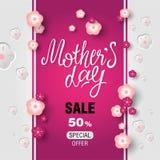Schablonenentwurfs-Rabattfahne für glücklichen Muttertag stockbild