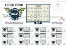 Schablonengeschäfts-Tischkalender mit Raum für Anmerkungen 2016 Wochenanfänge am Sonntag Stockfotografie