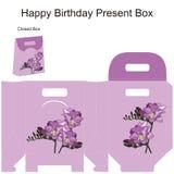 Schablonengeschenkbox für Heiratsbevorzugungen. Stockbild