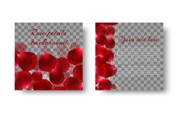 Schablonengrußkarte mit den roten rosafarbenen Blumenblättern Lizenzfreie Stockfotos