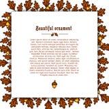 Schablonengrußkarte mit Rahmen der Herbsteiche Stockfoto