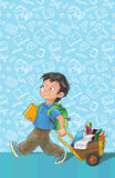 Schablonengrußkarte mit Schüler. Lizenzfreies Stockbild