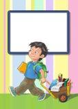 Schablonengrußkarte mit Schüler Stockbilder