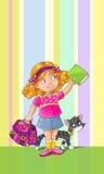 Schablonengrußkarte mit Schulmädchen Lizenzfreie Stockfotos