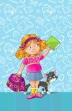Schablonengrußkarte mit Schulmädchen Lizenzfreie Stockfotografie