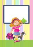Schablonengrußkarte mit Schulmädchen Lizenzfreie Stockbilder