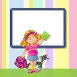 Schablonengrußkarte mit Schulmädchen Stockfotografie