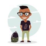 Schablonenillustration für Planungsarbeit und Animation Schülercharakterjunge Stockfoto