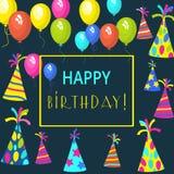 Schablonenkarte für Einladungen, Geburtstag, für Design, Anzeige, Farbe, bunt, Feiertag, Gruß, Bucheinband, Elemente für Winkel d Lizenzfreie Stockfotos