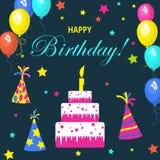 Schablonenkarte für Einladungen, Geburtstag, für Design, Anzeige, Farbe, bunt, Feiertag, Gruß, Bucheinband, Elemente für Winkel d Lizenzfreies Stockfoto