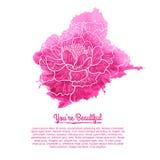 Schablonenkarten Rosa Aquarellfleck mit a Stockfotografie