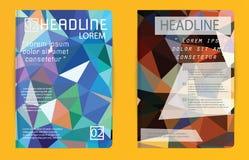 Schablonenpolygonzusammenfassungsdesignzeitschriftbroschürenfliegerbroschüre Stockbild