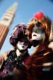 Schablonenportraitkarneval von Venedig Italien Stockfotos