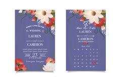 Schablonenpostkarte mit Aquarellblumen und -blättern Außer dem Datum lizenzfreies stockfoto