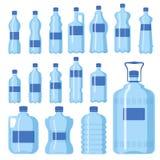 Schablonenschattenbild-Schablonenillustration des Plastikdes wasserflaschen-Vektorfreien raumes Aqua der Natur blauen sauberen fl stock abbildung
