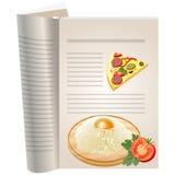 Schablonenseiten eines Kochbuches Stockfotos
