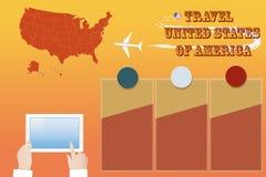 Schablonenvektor Reise nach die Vereinigten Staaten von Amerika stock abbildung