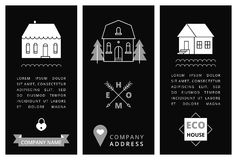 Schablonenvisitenkarte mit Häusern Stockfotografie