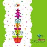 Schablonenweihnachtsgrußkarte, Vektor Stockfotos