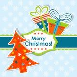 Schablonenweihnachtsgrußkarte, Vektor Lizenzfreie Stockbilder