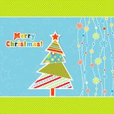 Schablonenweihnachtsgrußkarte, Vektor Stockbild