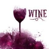 Schablonenweinliste, Einladung, Ereignis oder Partei Wein auf englisch Lizenzfreie Abbildung