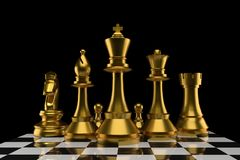 Schach der Gruppe in der Goldfarbe in der Wiedergabe 3D lizenzfreie abbildung