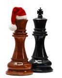 Schach mit Sankt-Hut Lizenzfreies Stockfoto