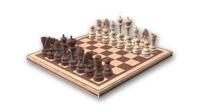 Schach-Set auf weißem Hintergrund Stockbild