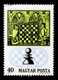 Schach-Spieler Manuskript vom des 15. Jahrhunderts, 50. Jahrestag von Lizenzfreie Stockfotografie