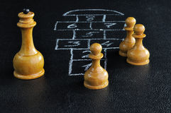 Schach- und Hopsevorstand Stockfotos