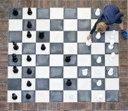 Schachbrett im Freien von oben Lizenzfreie Stockfotos