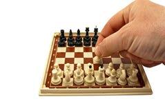 Schachbrett mit Abbildungen Stockfotografie