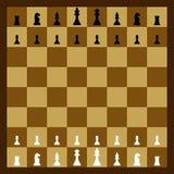 Schachbrett mit den Schachfiguren bereit zu spielen Lizenzfreies Stockfoto