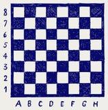 Schachbrett mit Zeichen und Zahlen Stockfoto