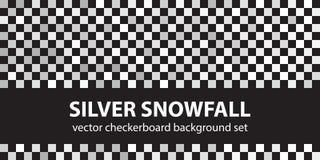 Schachbrettmuster-gesetzte silberne Schneefälle Vektor nahtloses backgr Vektor Abbildung