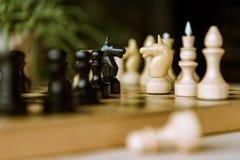 Schachfiguren adelt das Gegenüberstellen für eine Distanzhülse auf Schachbrett Stockfotos