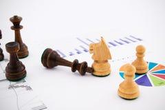 Schachfiguren auf Geschäftshintergrund Lizenzfreie Stockfotografie