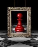 Schachpfand auf goldenem Rahmen Stockbild