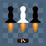 Schachpfand weg auf verwies die Jets auf einem Schach Brett stock abbildung