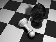 Schachpferd und -pfandgegenstand Stockfoto