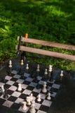 Schachschachbrett in Washington Square Park NYC Stockfotos