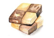 Schachschokoladen- und -butterplätzchen Stockbilder